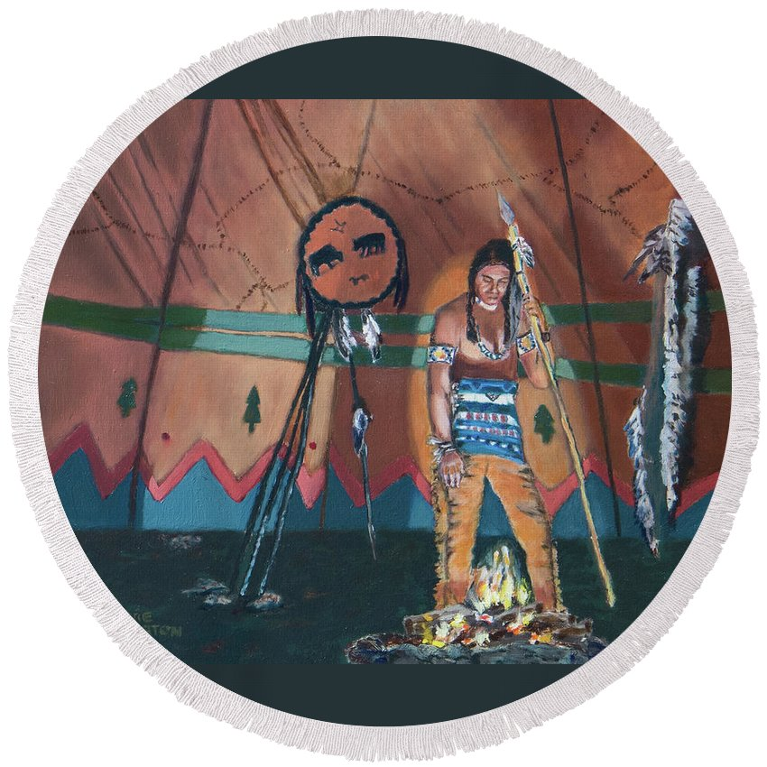 Native American Round Beach Towel featuring the painting North American Indian Contemplating by Jeannie Allerton