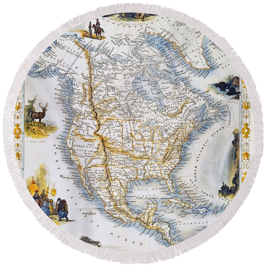 1851 Round Beach Towel featuring the photograph North American Map, 1851 by Granger