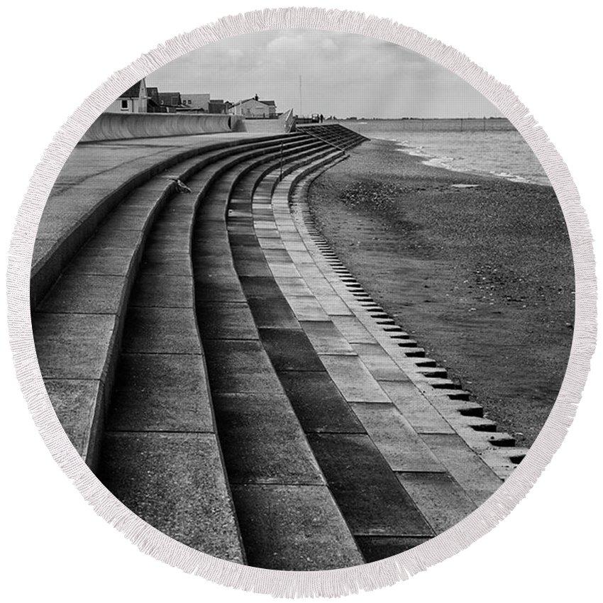 Monochromephotography Round Beach Towel featuring the photograph North Beach, Heacham, Norfolk, England by John Edwards