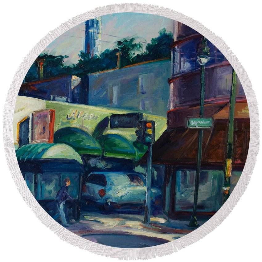 Cityscape Round Beach Towel featuring the painting North Beach by Rick Nederlof