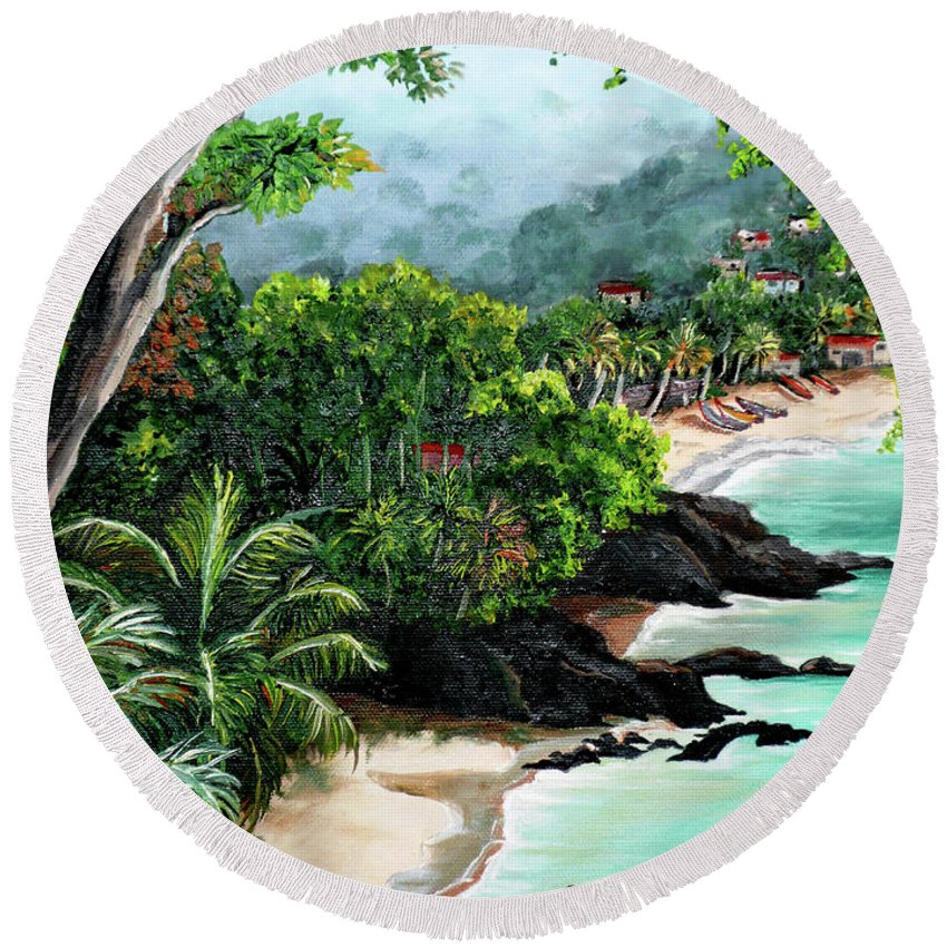 Caribbean Painting Tropical Painting Round Beach Towel featuring the painting North Coast Tobago by Karin Dawn Kelshall- Best