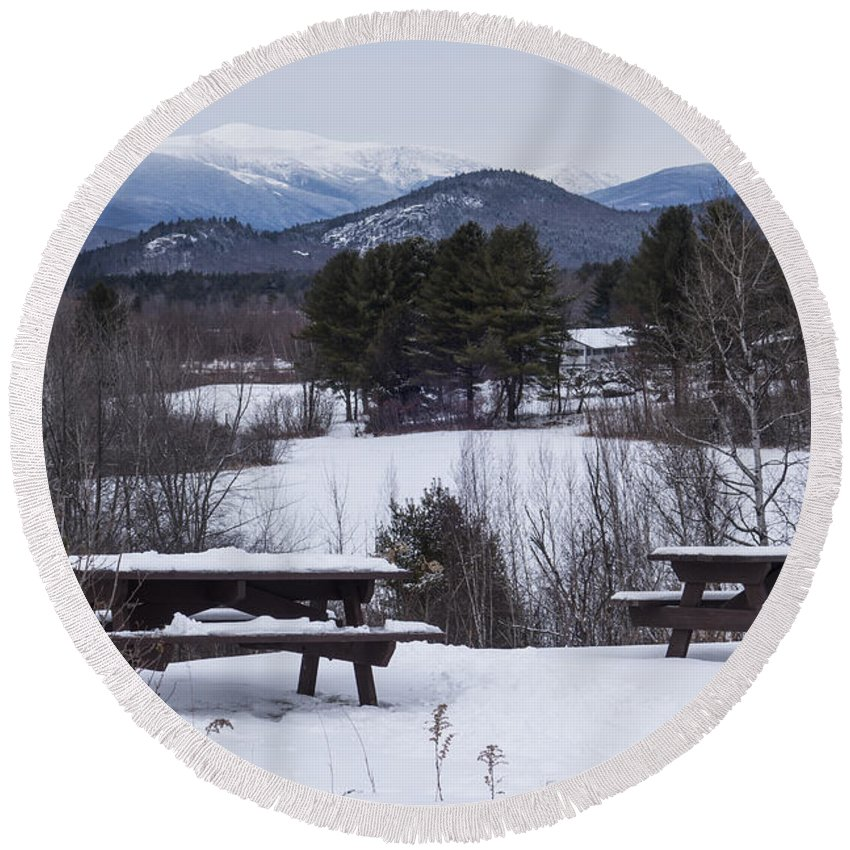 North Round Beach Towel featuring the photograph North Conway Winter Mountains by Toby McGuire