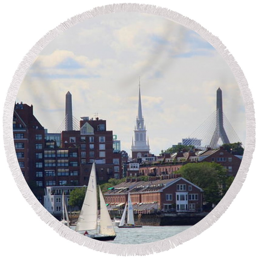 Boston Round Beach Towel featuring the photograph North End Of Boston by Lennie Malvone