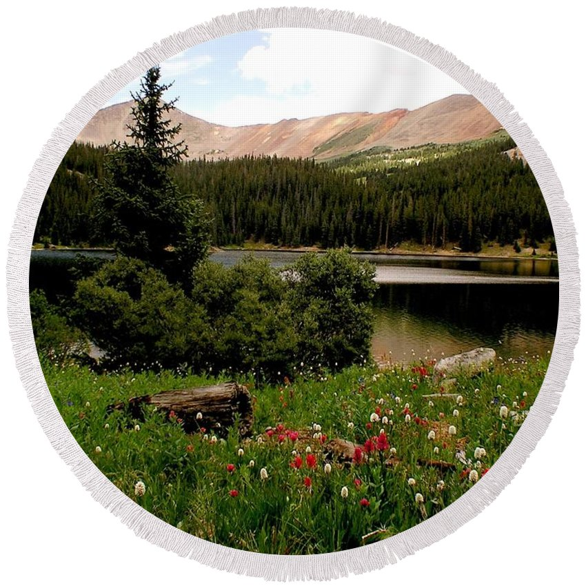 Lake Round Beach Towel featuring the photograph North Fork Lake Colorado by Carol Milisen