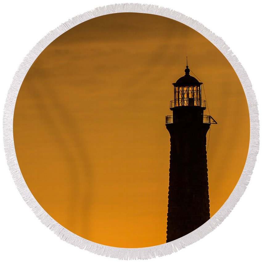 Lighthouse Round Beach Towel featuring the photograph North Light Closeup by Tim Kirchoff