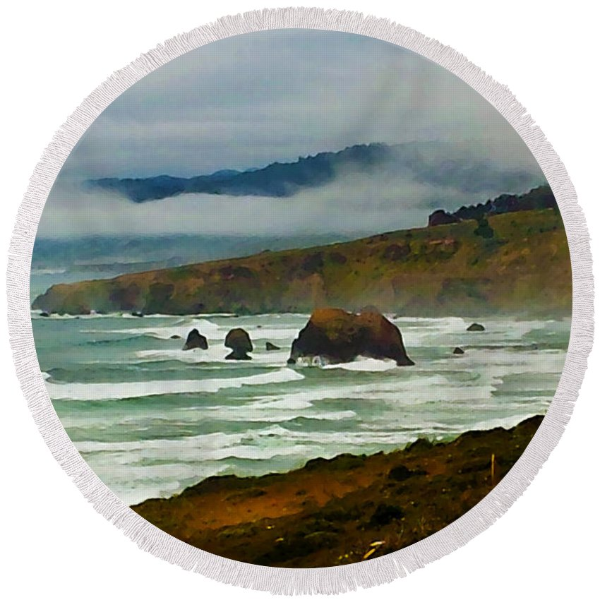 Susan Vineyard Round Beach Towel featuring the photograph North Of Mendicino by Susan Vineyard
