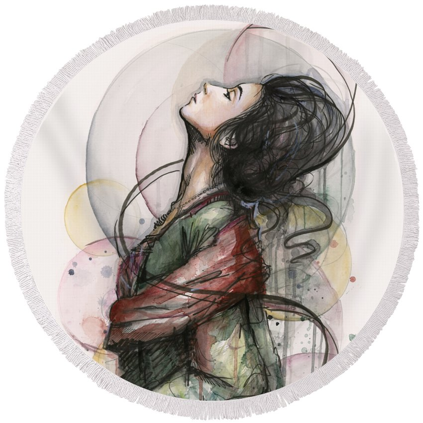 Watercolor Round Beach Towel featuring the painting Beautiful Lady by Olga Shvartsur