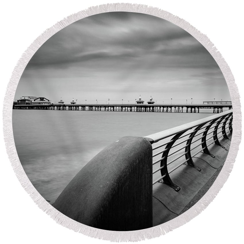 Black And White Image Round Beach Towel featuring the photograph North Pier Blackpool by Mike Walker