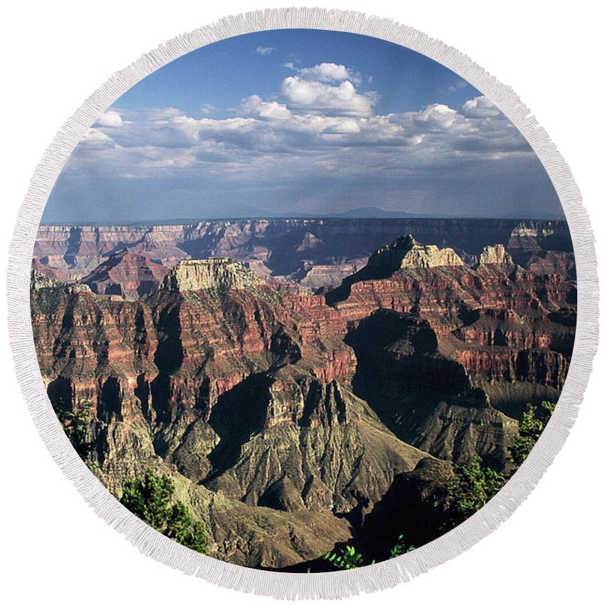Grand Canyon; National Parks Round Beach Towel featuring the photograph North Rim by Kathy McClure