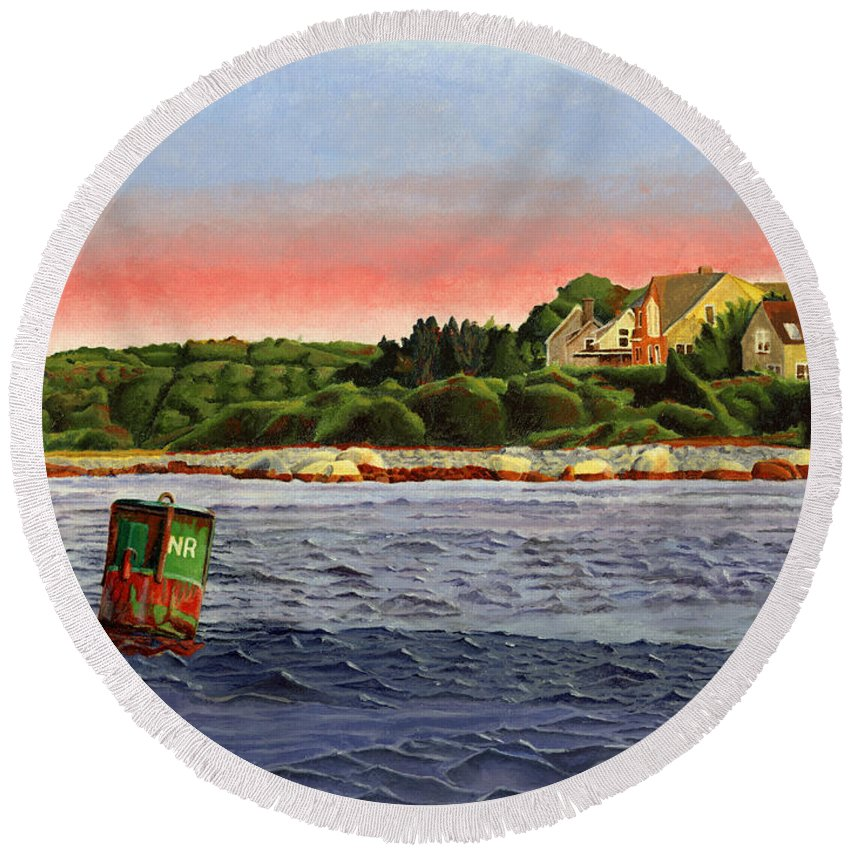 River Round Beach Towel featuring the painting North River At Sunset by Dominic White