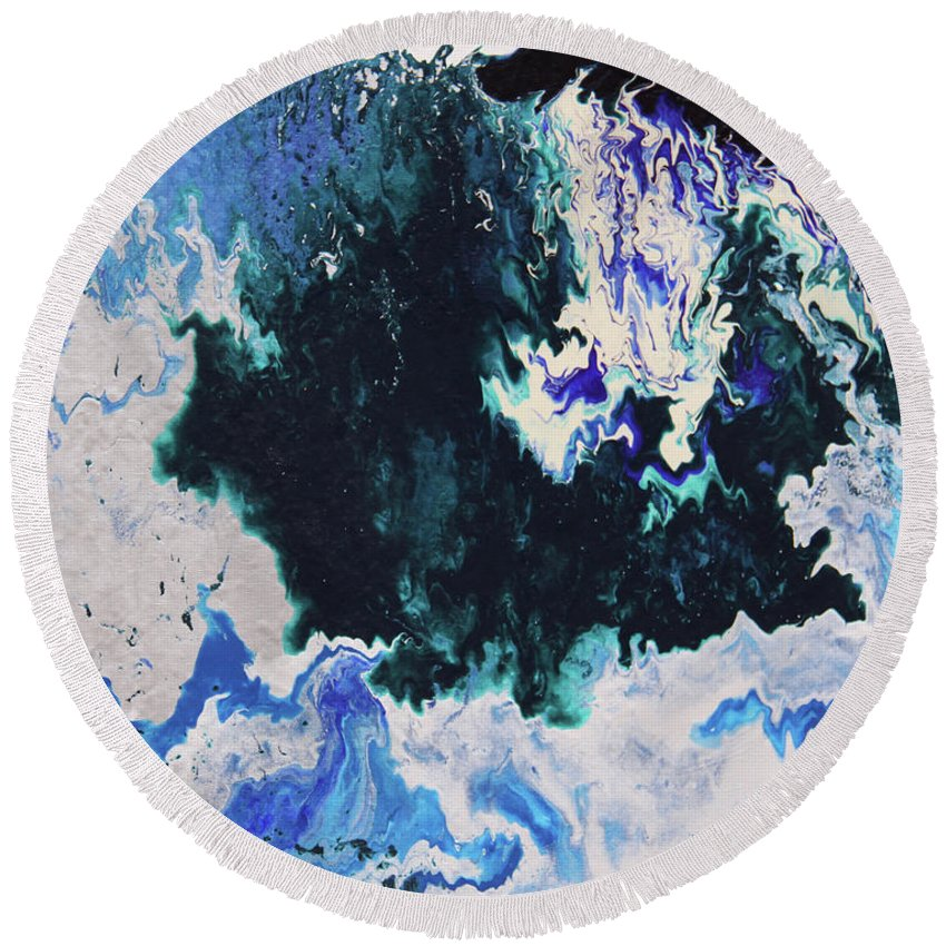 Fusionart Round Beach Towel featuring the painting North Shore by Ralph White