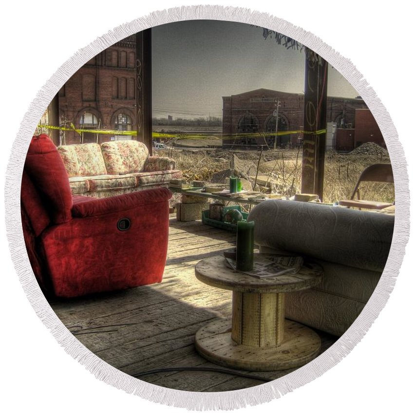 Hdr Round Beach Towel featuring the photograph North St. Louis Porch by Jane Linders