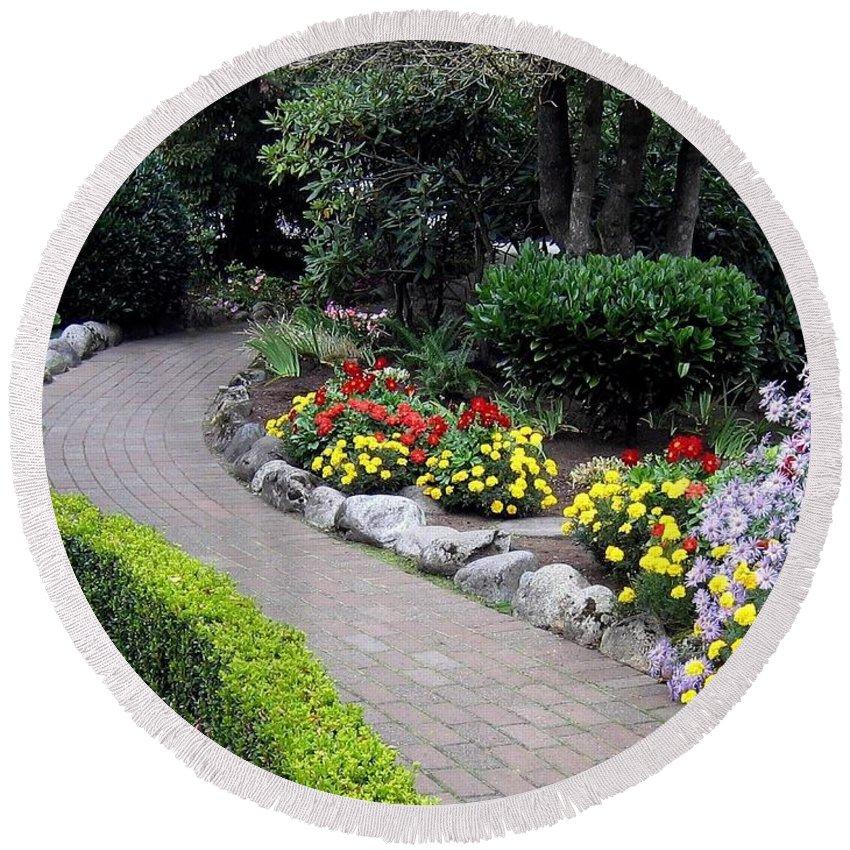 Garden Round Beach Towel featuring the photograph North Vancouver Garden by Will Borden