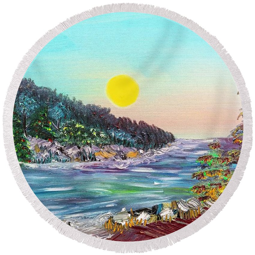 North Round Beach Towel featuring the painting North With Yellow Sun by Elizabeth Goodermote