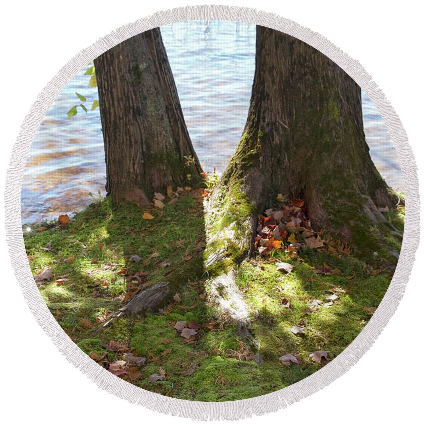 Round Beach Towel featuring the photograph North Woods Lake One by Sara Schroeder