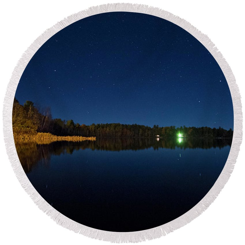Round Beach Towel featuring the photograph North Woods Lake Stars One by Sara Schroeder