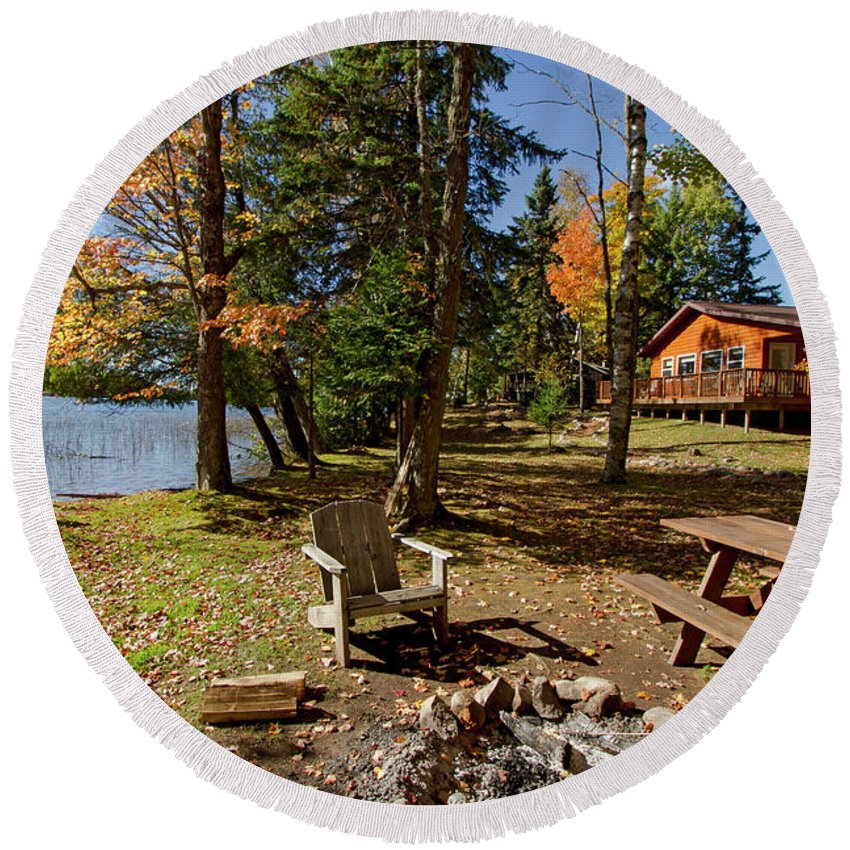 Round Beach Towel featuring the photograph North Woods Lake Three by Sara Schroeder