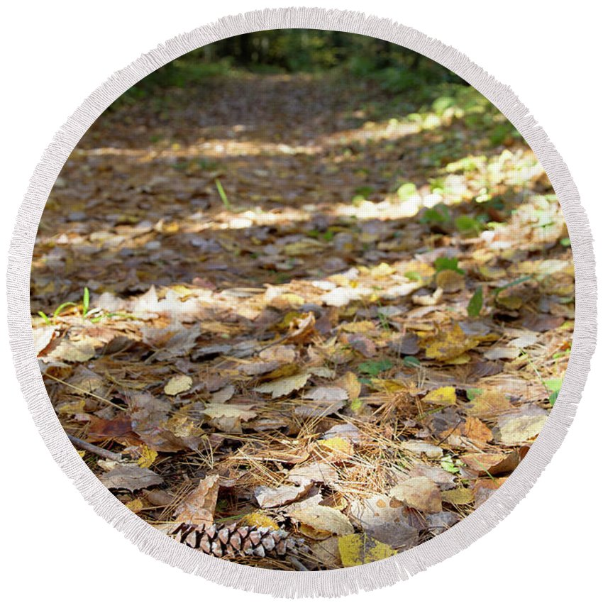 Round Beach Towel featuring the photograph North Woods Path by Sara Schroeder