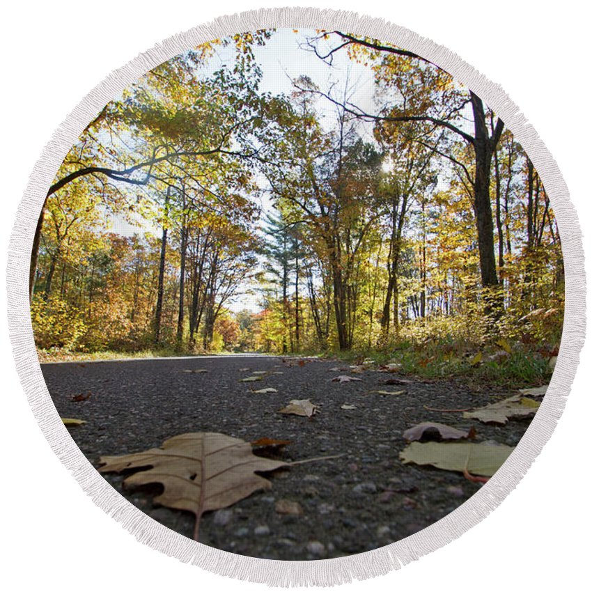 Round Beach Towel featuring the photograph North Woods Road Two by Sara Schroeder