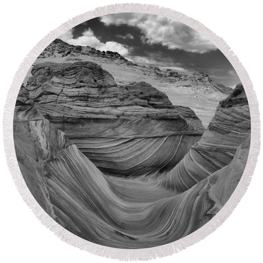 Coyote Buttes Round Beach Towel featuring the photograph Northern Arizona Desert Swirls by Adam Jewell