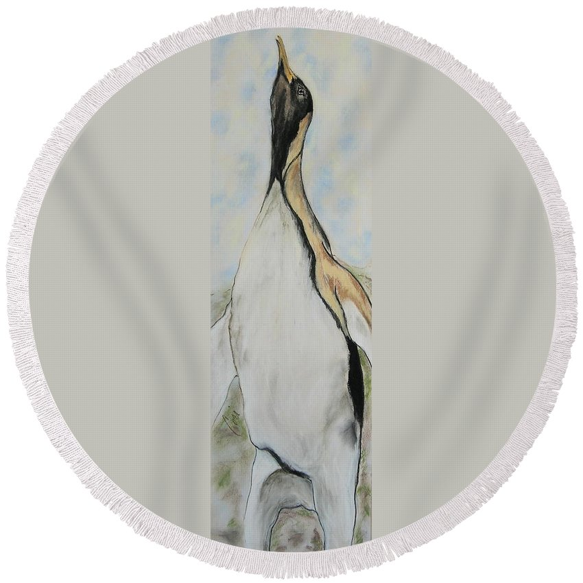 Penguin Round Beach Towel featuring the drawing Northern Bliss by Cori Solomon