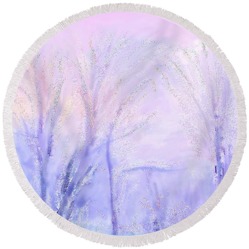Northern California Pastel Sunset Round Beach Towel featuring the painting Northern California Pastel Sunset by Angela Stanton