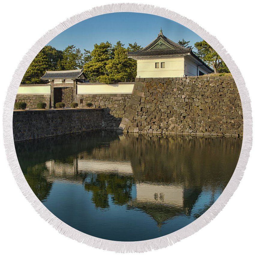 Kitahanebashi-mon Round Beach Towel featuring the photograph Northern Gate Of Edo Castle by Photopoint Art