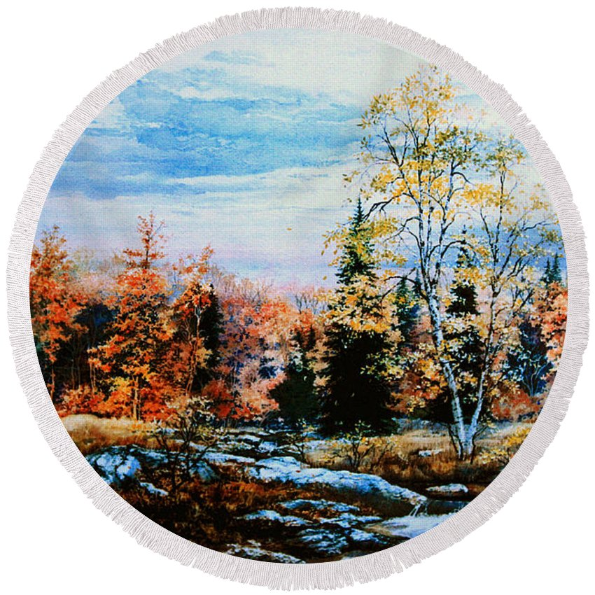 Northern Gold Painting Round Beach Towel featuring the painting Northern Gold by Hanne Lore Koehler