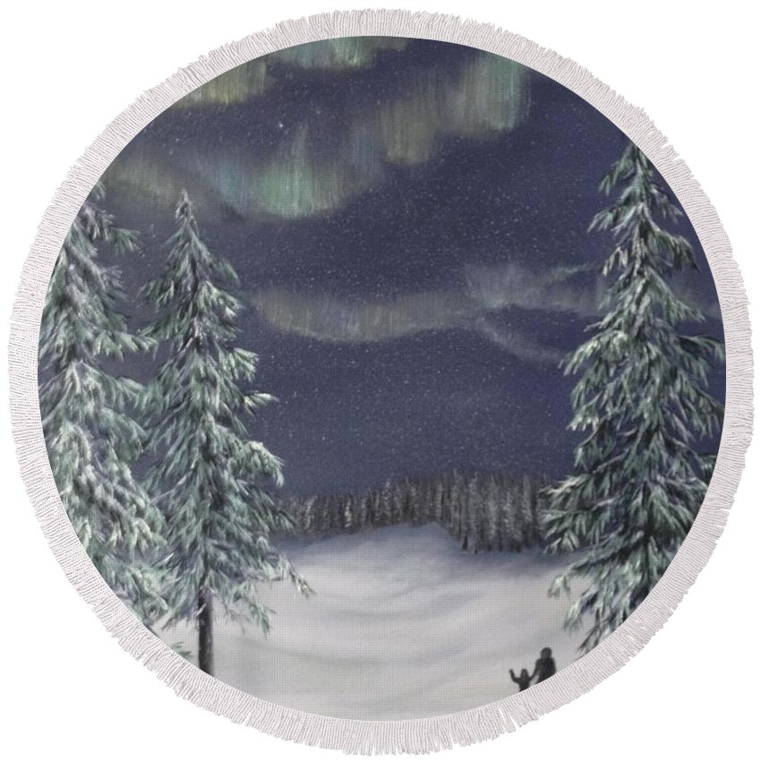 Landscape Round Beach Towel featuring the painting Northern Lights 2 by J O Huppler