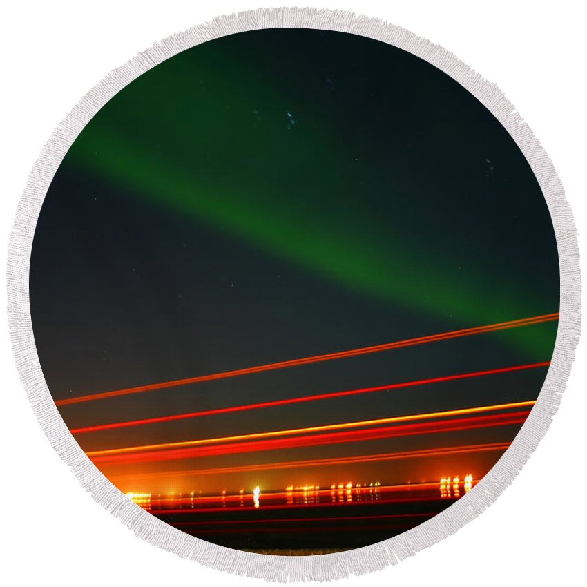 Northern Lights Round Beach Towel featuring the photograph Northern Lights by Anthony Jones