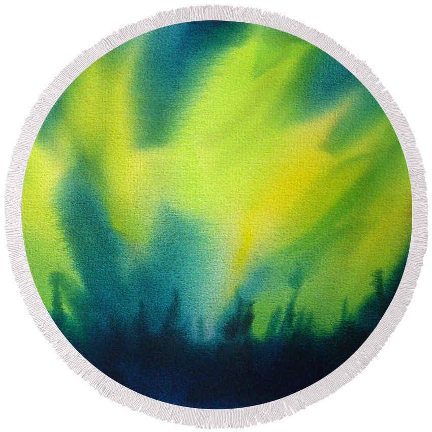 Paintings Round Beach Towel featuring the painting Northern Lights I by Kathy Braud