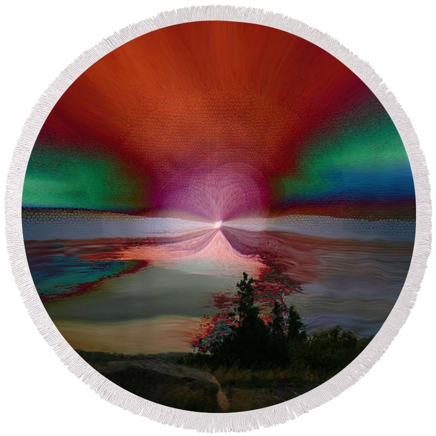 Digital Painting Round Beach Towel featuring the photograph Northern Lights by Linda Sannuti