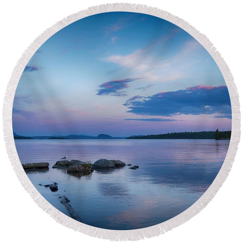 Lake Round Beach Towel featuring the photograph Northern Maine Sunset Over Lake by Justin Mountain