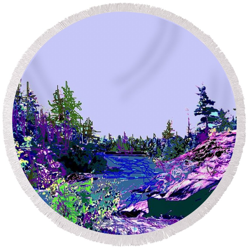 Norlthern Round Beach Towel featuring the photograph Northern Ontario River by Ian MacDonald