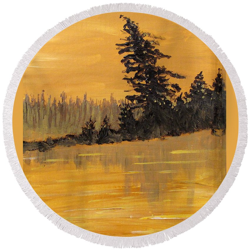 Northern Ontario Round Beach Towel featuring the painting Northern Ontario Three by Ian MacDonald