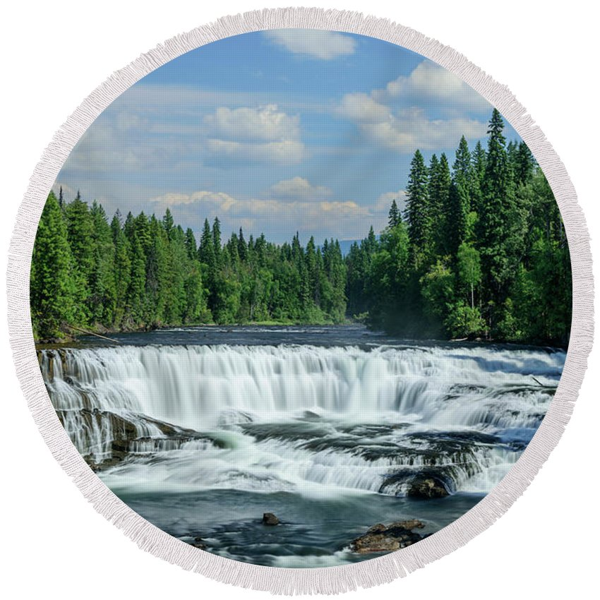 North America Round Beach Towel featuring the photograph Northern Waterfall by Christian Heeb