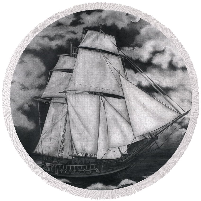 Ship Sailing Into The Northern Winds Round Beach Towel featuring the drawing Northern Winds by Larry Lehman