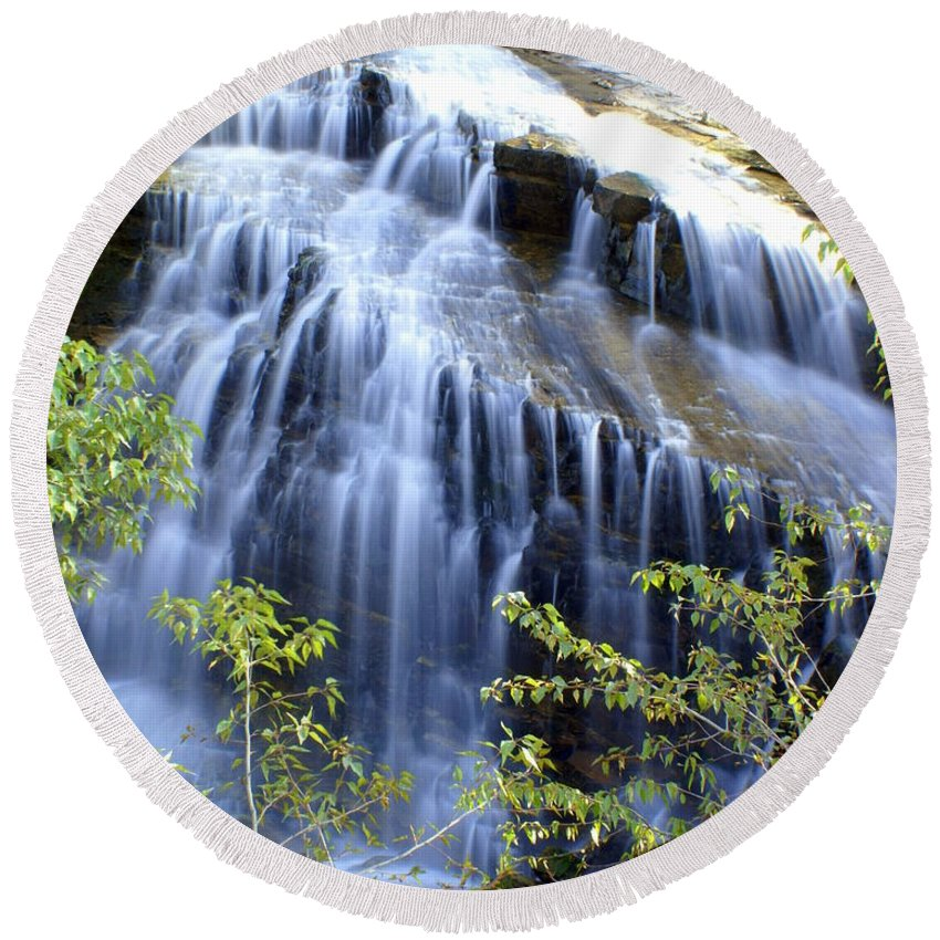 Waterfalls Round Beach Towel featuring the photograph Northfork Falls by Marty Koch