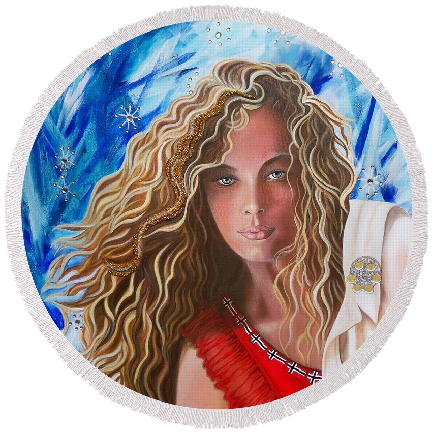 Norwegian Pretty Girl Round Beach Towel featuring the painting Navigating Norwegian Girl       From The Attitude Girls by Sigrid Tune