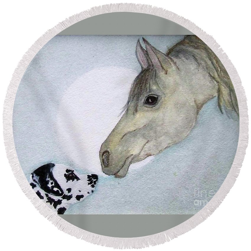 Dog Round Beach Towel featuring the painting Nose 2 Nose by Jacki McGovern