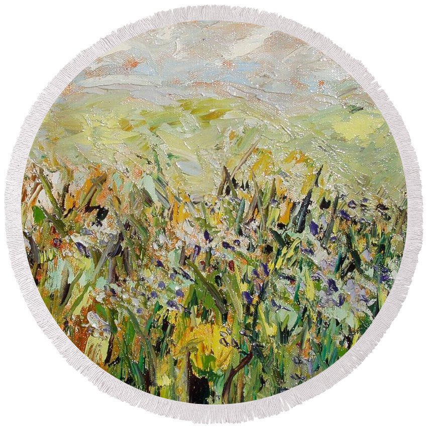 Field Paintings Round Beach Towel featuring the painting Nose Hill by Seon-Jeong Kim