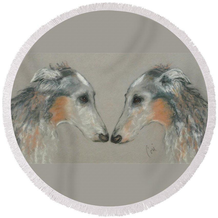 Dog Round Beach Towel featuring the drawing Nose To Nose by Cori Solomon