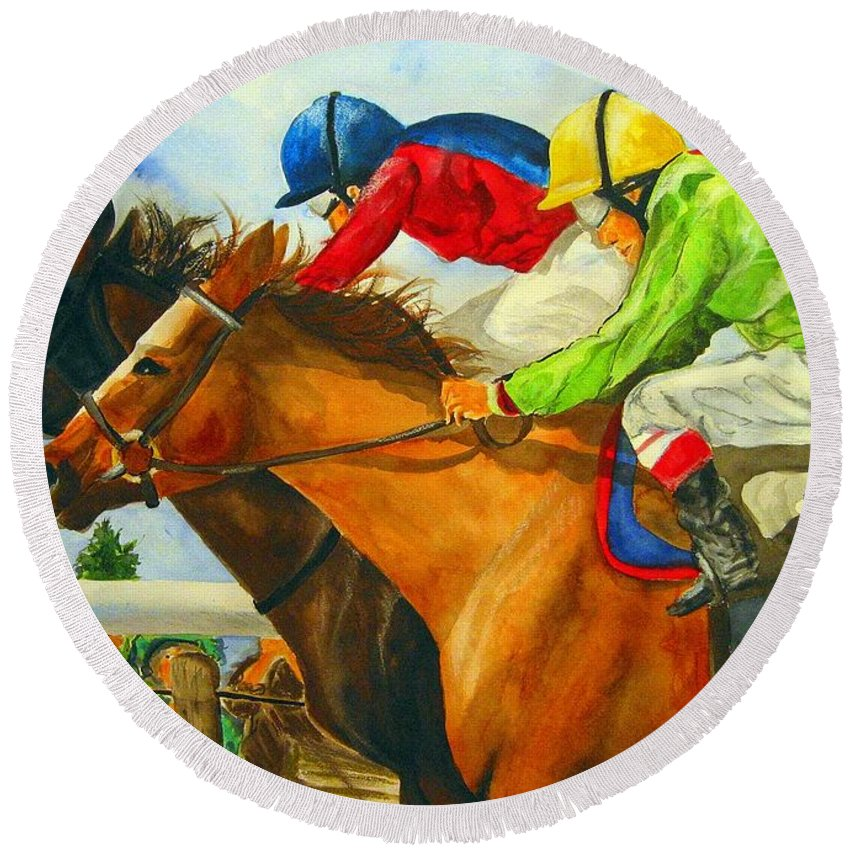 Horse Round Beach Towel featuring the painting Nose to Nose by Jean Blackmer