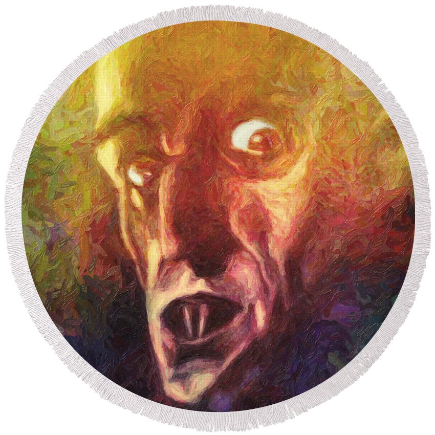 Nosferatu Round Beach Towel featuring the painting Nosferatu by Zapista