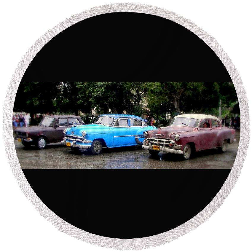 Cuba Round Beach Towel featuring the photograph Nostalgia by Karen Wiles