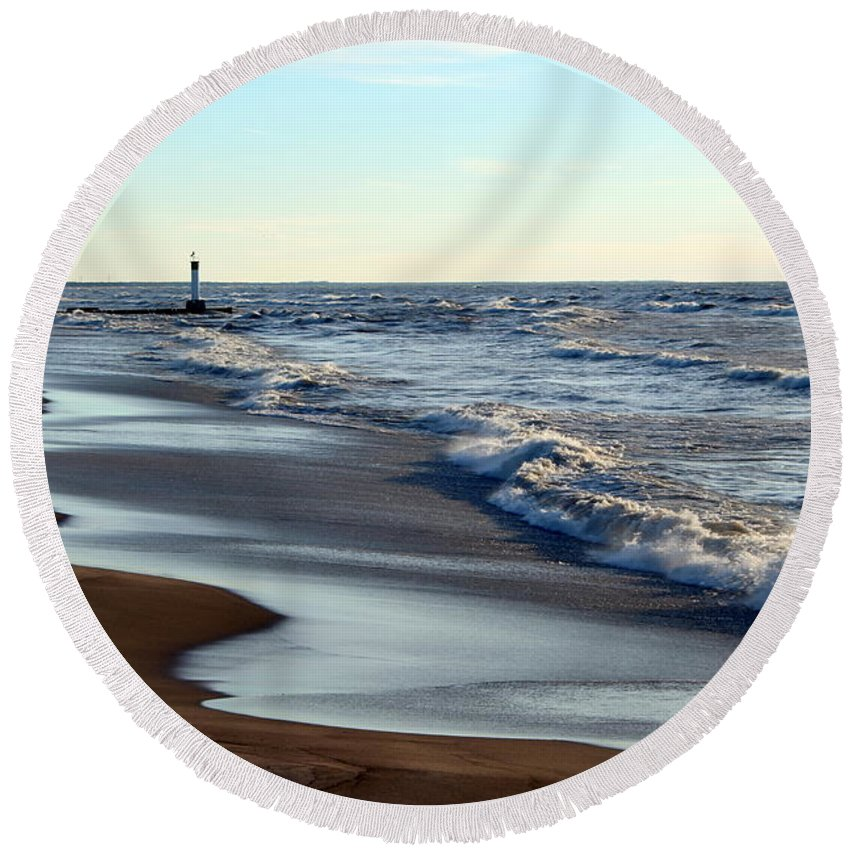 Grand Bend Round Beach Towel featuring the photograph Not A Soul Grand Bend 3 by John Scatcherd