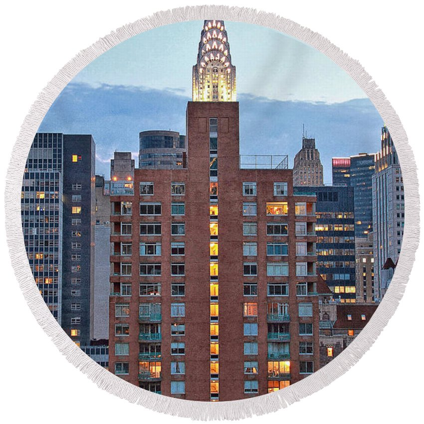 Nyc Round Beach Towel featuring the photograph Not The Chrysler Building Nyc by Bob Slitzan