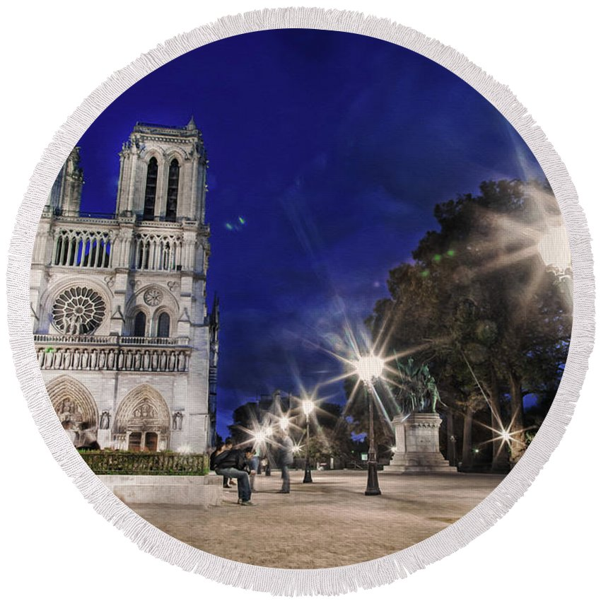 Notre Dame Cathedral Round Beach Towel featuring the photograph Notre Dame Cathedral Paris 2 by Alex Art and Photo