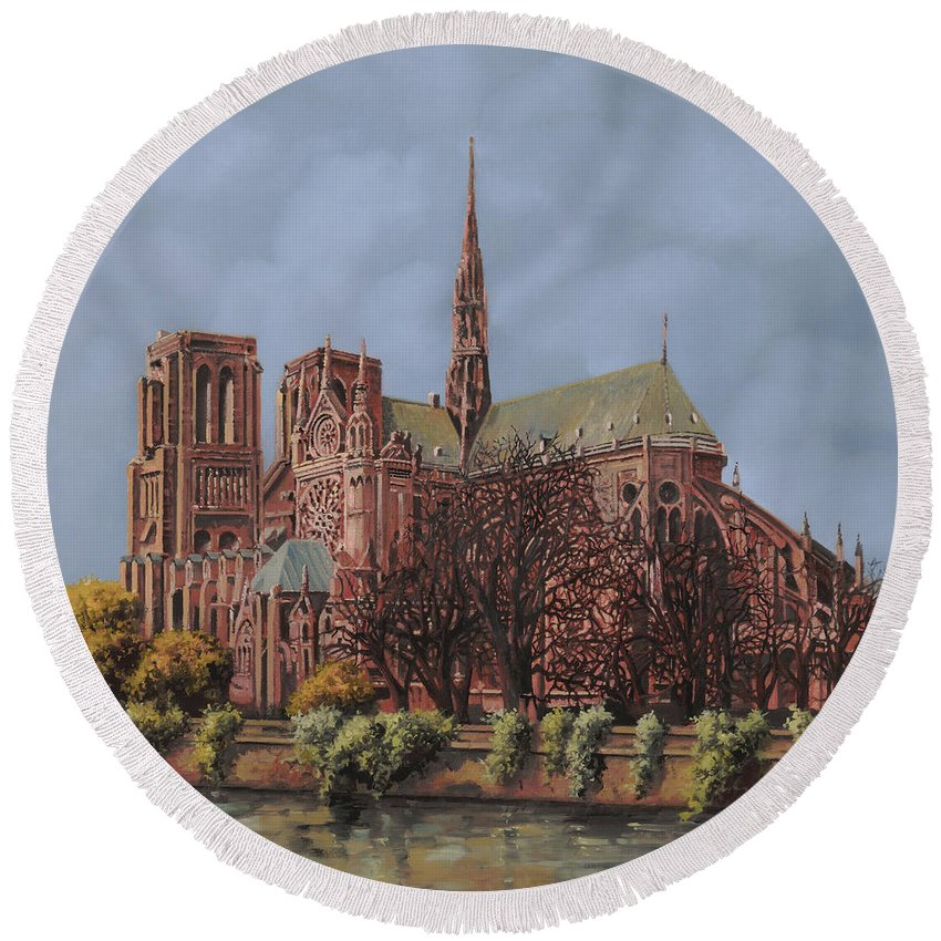 Paris Round Beach Towel featuring the painting Notre-dame by Guido Borelli