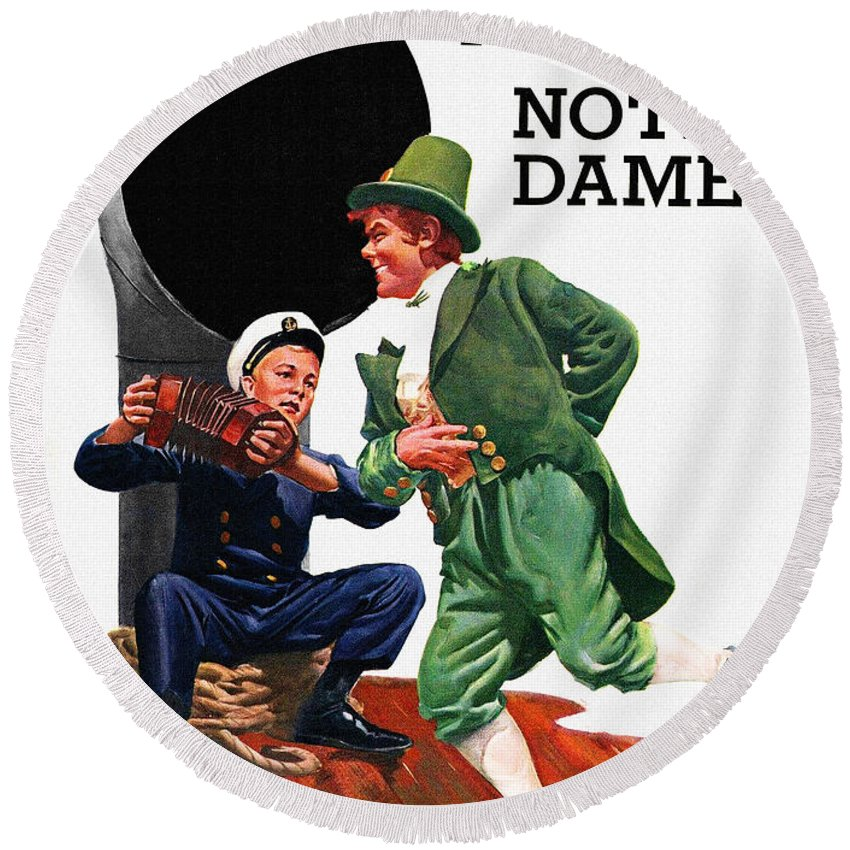 Irish Round Beach Towel featuring the painting Notre Dame V Navy 1954 Vintage Program by John Farr
